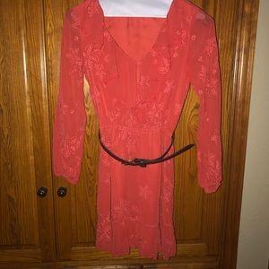 Beautiful orange fully lined Dress with Belt